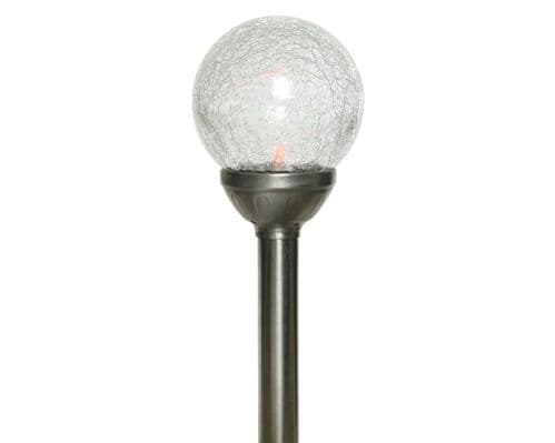 Lumineo LED Solar Crackle Glass Ball - 1 Light - 10x30.5cm - Colour Changing